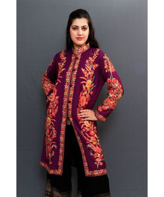 Violet Colour Kashmiri Aari Work Embroidered Jacket With Beautiful Bail And Border On Openings.