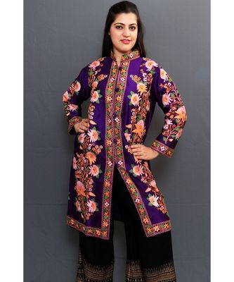 Dark Purple Colour Kashmiri Aari Work Embroidered Jacket With Beautiful Bail And Border On Openings