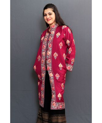 Mauve Colour Kashmiri Aari Work Embroidered Jacket With Beautiful Border And Allover Motifs.