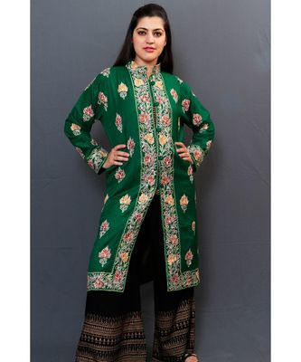 Bottlegreen Colour Kashmiri Aari Work Embroidered Jacket With Beautiful Border And Allover Motifs.