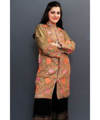 Mud Colour Embroidered Jacket With Beautiful Aari Embroidery Gives Attractive Look To The Wearer.