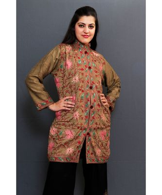 Mud Colour Embroidered Jacket With Beautiful Aari Jaal Gives Attractive Look To The Wearer.