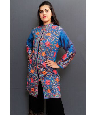 Blue Colour Embroidered Jacket With Beautiful Aari Jaal Gives Elegance To The Wearer.