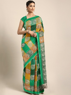 Green Printed Faux Silk Blend Saree With Blouse