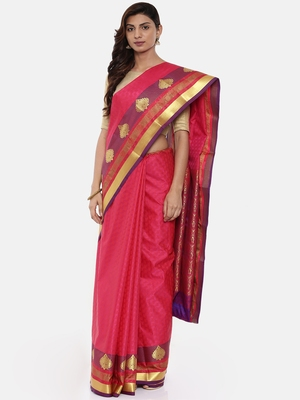 CLASSICATE From The House Of The Chennai Silks Women's Pink Dharmavaram Silk Saree With Blouse