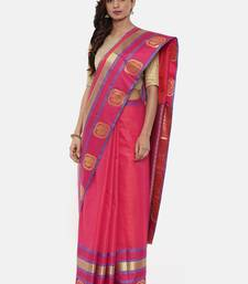 CLASSICATE From The House Of The Chennai Silks Women's Magenta Dharmavaram Silk Saree With Blouse