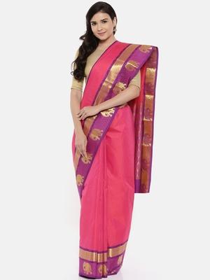 CLASSICATE From The House Of The Chennai Silks Women's Magenta Dharmavaram Silk Saree With Blouse
