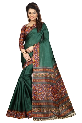 Green printed bhagalpuri saree with blouse