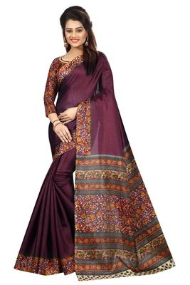 Wine printed bhagalpuri saree with blouse