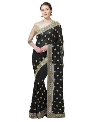 Black embroidered faux georgette saree with blouse