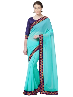Turquoise embroidered chiffon saree with blouse