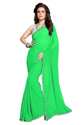 Green plain faux georgette saree with blouse