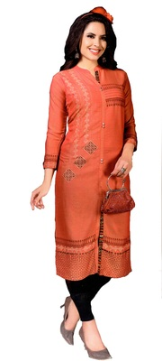 Peach Embroidered Cotton Kurtis