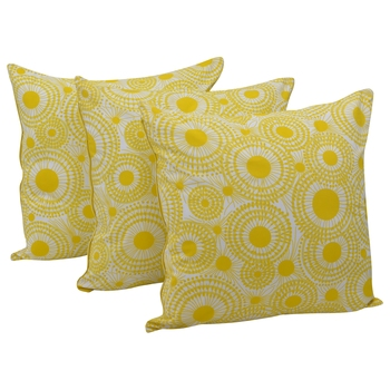 Reme 3D Printed Yellow Cotton Square Decorative Cushion Cover