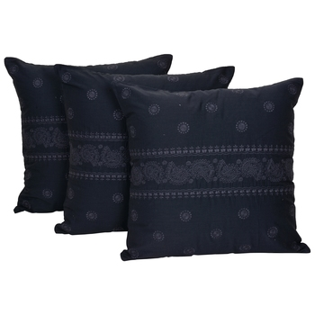 Reme Embroidered Blue Cotton Square Decorative Cushion Pillow Cover