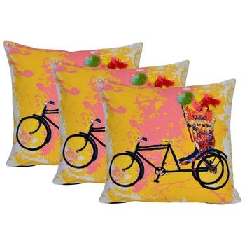 Reme 3D Printed Multicolor Cotton Square Decorative Cushion Cover Pillow Case
