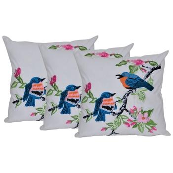 Reme Embroidered White Cotton Square Decorative Cushion Cover Pillow Case
