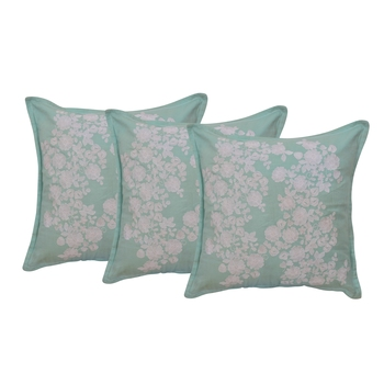Reme Embroidered Blue Cotton Square Decorative Cushion Cover