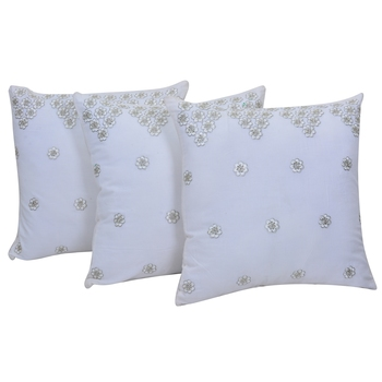Reme Embroidered White Cushion Cover
