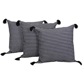 Reme Embroidered Black Cotton Square Decorative Cushion Cover