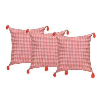 Reme Embroidered Peach Cotton Square Decorative Cushion Cover