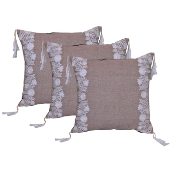 Reme Embroidered Beige Cotton Square Decorative Cushion Cover