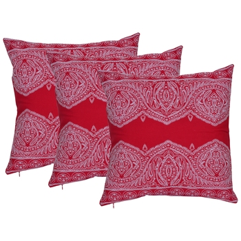 Reme Embroidered Red Cotton Square Decorative Cushion Cover