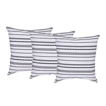Reme Embroidered Cushion Cover Striped White And Black