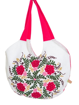 Reme Women Embroidered White and Red Tote  Shoulder Bag