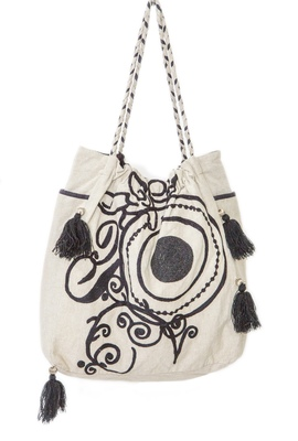 Reme Embroidered White And Brown Handbag For Women