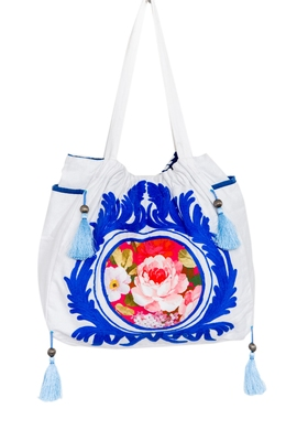 Reme Cotton Embroidered White And Blue Ethnic Handbag For Women