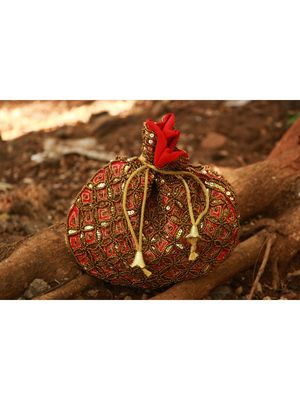 Red Coloured Sequin Worked Designer Potli Bag