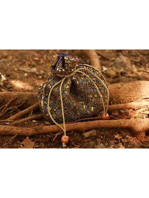 Blue Coloured Sequin Worked Designer Potli Bag