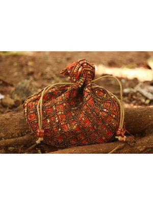 Orange Coloured Sequin Worked Designer Potli Bag