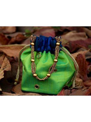 bagzVela Bluish Green Toned Real Mirror Work Silk Potli