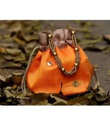 bagzVela Golden Orange Toned Real Mirror Work Silk Potli