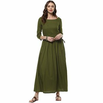Green plain cotton cotton-kurtis