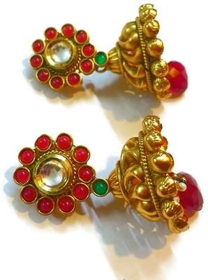 Ruby and green Jhumki Earrings