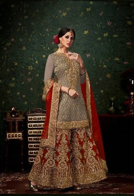 Grey  embroidered banarasi kameez with palazzo