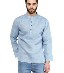 Blue plain linen men-kurtas