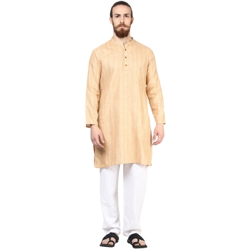 Beige plain silk men-kurtas
