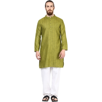 Green plain silk men-kurtas