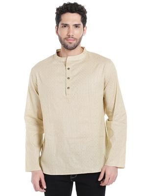 Beige plain blended cotton men-kurtas
