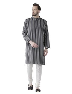 Grey printed cotton men-kurtas