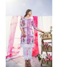 purple printed cotton stitched kurti sets