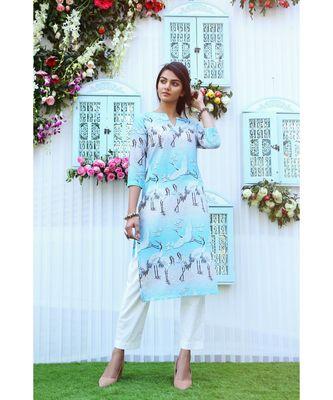 turquoise printed cotton stitched kurti sets