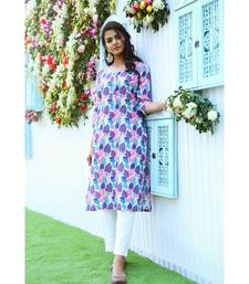 multicolor printed cotton stitched kurti sets