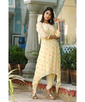 yellow printed cotton stitched kurti sets