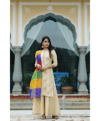 yellow printed chanderi stitched kurti sets