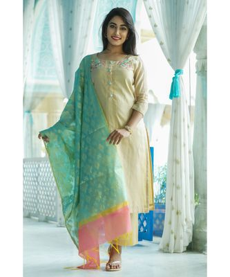 yellow printed chanderi stitched kurti sets